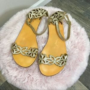 Urban Outfitters Kimchi Blue Gold Leather Sandals